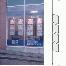 LED Raampresentatie 4x A4 Portrait verlicht met 1 LED spot 3w
